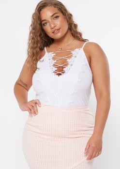 plus white crochet crisscross v neck bodysuit - Main Image