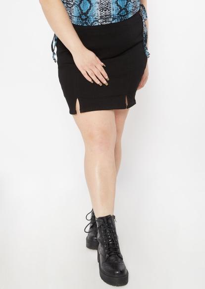 plus black denim double thigh slit skirt - Main Image