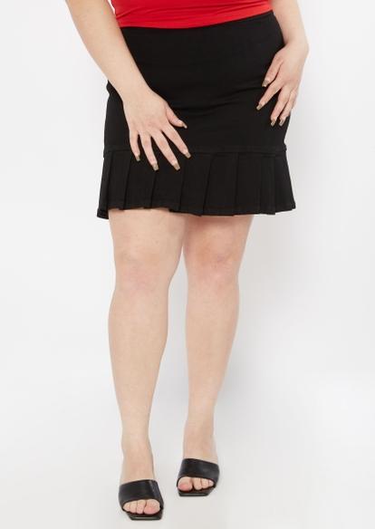 plus black ruffle pleated hem jean mini skirt - Main Image