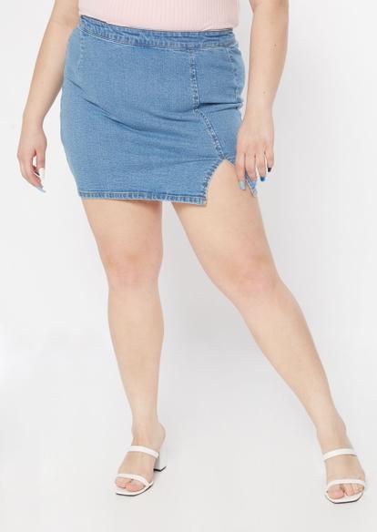 plus light wash thigh slit denim mini skirt - Main Image