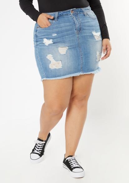 medium wash ripped frayed jean mini skirt - Main Image