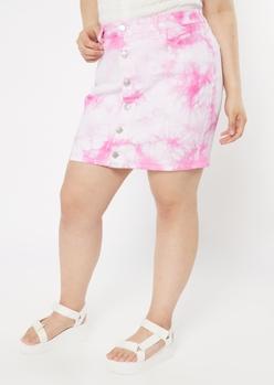 plus pink tie dye button front jean skirt - Main Image