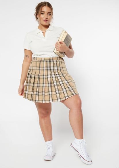 plus taupe plaid print skirt - Main Image