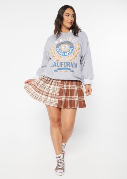 plus brown plaid colorblock pleated skirt - Main Image