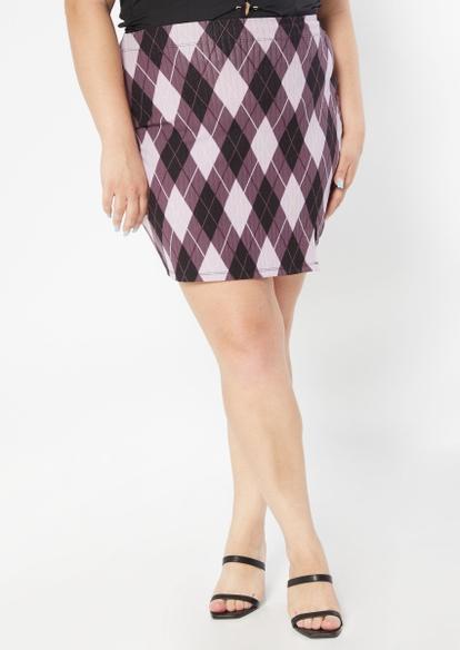plus purple argyle print thigh slit mini skirt - Main Image