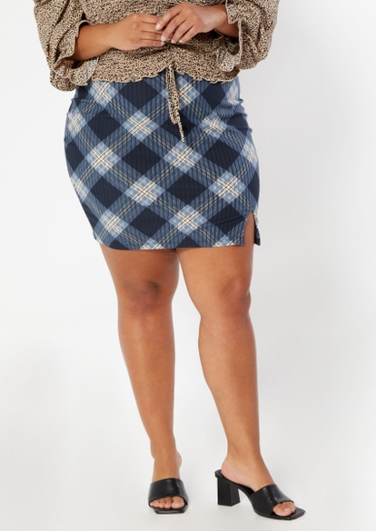 plus dark blue plaid print thigh slit mini skirt - Main Image