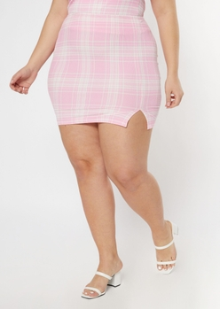 plus pink plaid print soft ribbed mini skirt - Main Image
