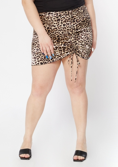 plus leopard print ruched satin mini skirt - Main Image