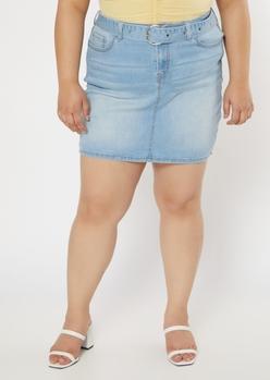 plus light wash belted jean mini skirt - Main Image