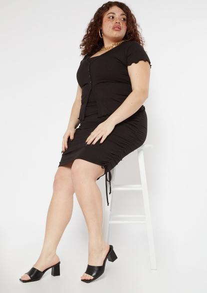 plus black ribbed knit ruched midi skirt - Main Image