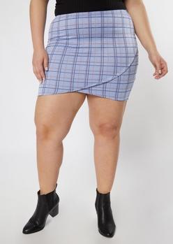 plus blue plaid tulip hem bodycon skirt - Main Image