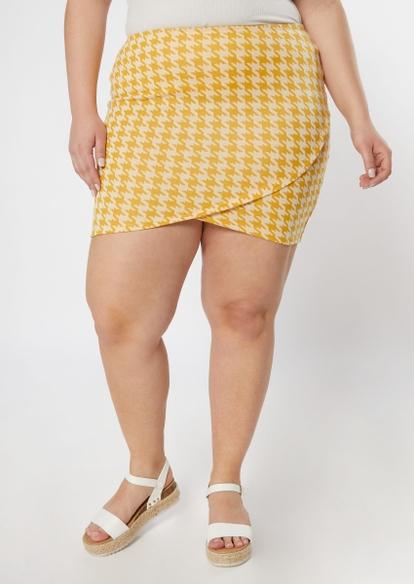 plus mustard houndstooth tulip hem bodycon skirt - Main Image
