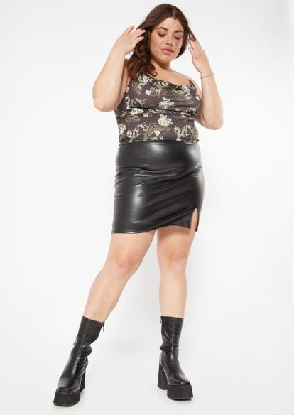 plus black faux leather side slit mini skirt - Main Image