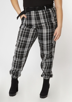 plus black plaid cargo pants - Main Image