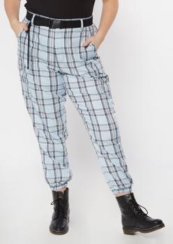 plus blue plaid cargo pants - Main Image