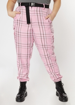 plus pink plaid cargo pants - Main Image