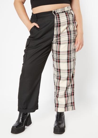 plus black colorblock plaid wide leg cargo pants - Main Image