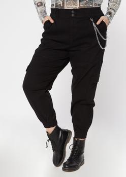 plus black chain cargo joggers - Main Image