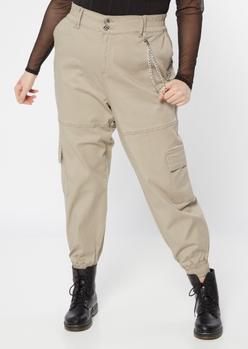 plus khaki chain cargo joggers - Main Image