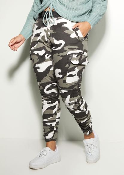 plus black camo print cargo pants - Main Image