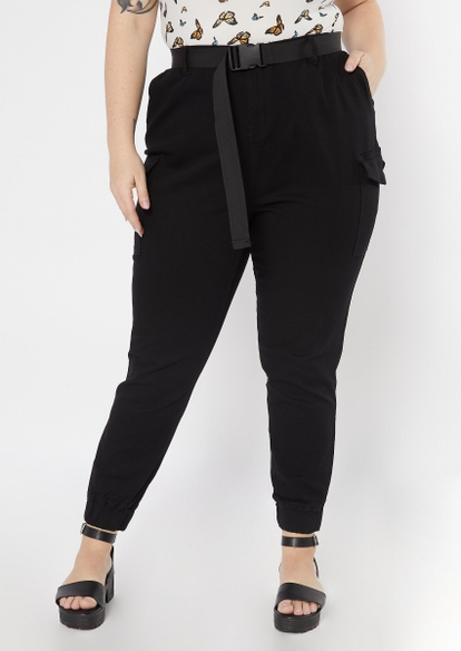 plus black belted cargo joggers - Main Image