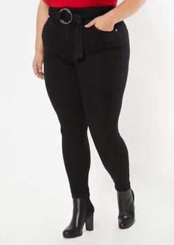plus black o ring belt skinny pants - Main Image