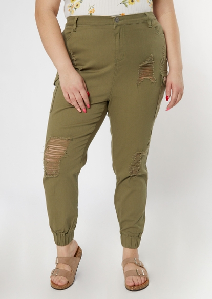 plus olive ripped cargo jogger pants - Main Image