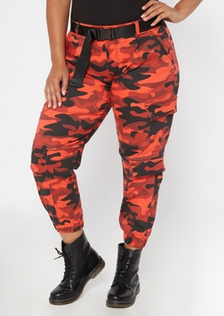 plus red camo print belted cargo pants - Main Image