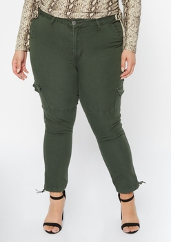 plus olive bungee ankle mid rise cargo joggers - Main Image