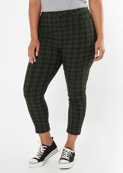 plus black plaid cuffed skinny pants - Main Image