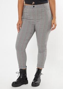 plus gray plaid cuffed skinny pants - Main Image