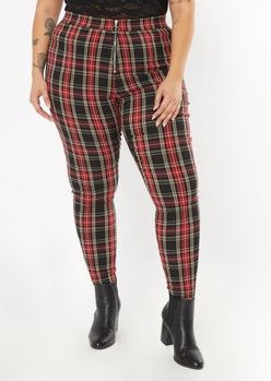 plus red plaid o ring flare pants - Main Image