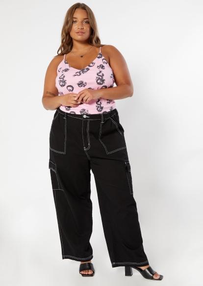 plus black contrast stitch straight leg cargo pants - Main Image