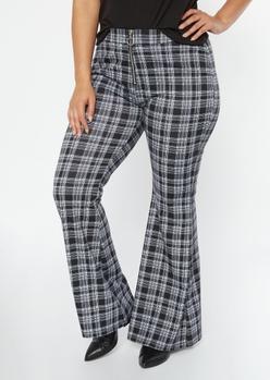 plus black plaid o ring flare pants - Main Image