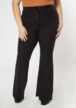 plus black grommet lace up stretch flare pants - Main Image