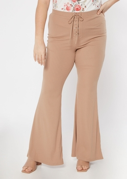 plus tan grommet lace up stretch flare pants - Main Image