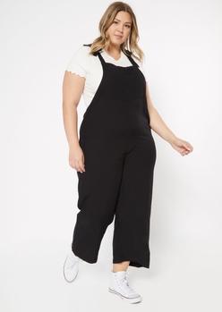 plus black tied shoulder strap twill overalls - Main Image