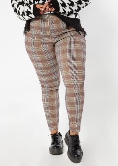 plus brown plaid print o ring zip pants - Main Image