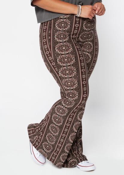 plus brown wallpaper print super soft flare pants - Main Image