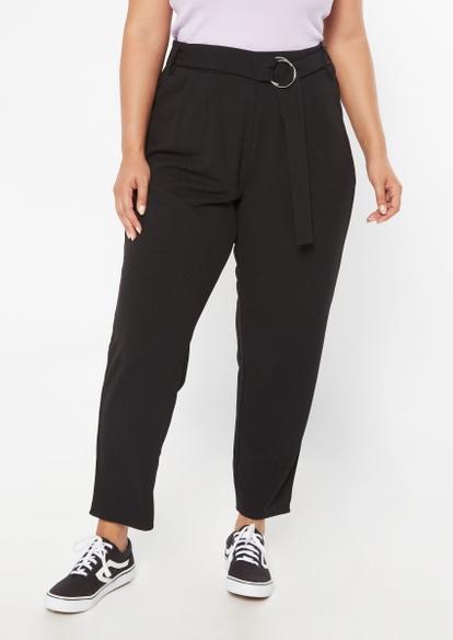 plus black knit crepe o-ring pants - Main Image