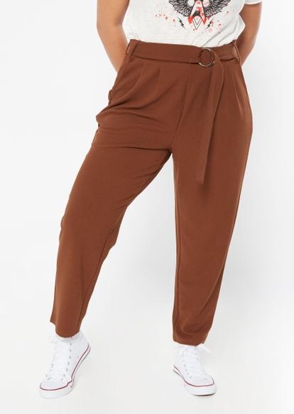 plus brown knit crepe o-ring pants - Main Image