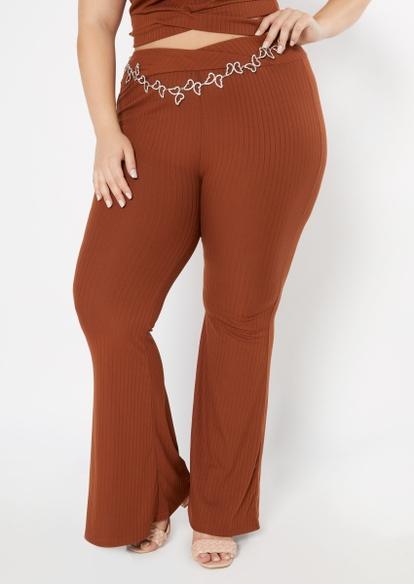 plus black super soft ribbed knit flare pants - Main Image