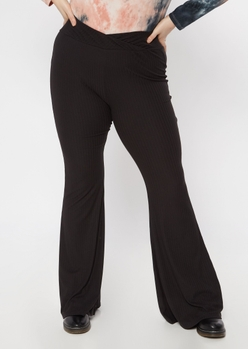plus black super soft ribbed flare pants - Main Image