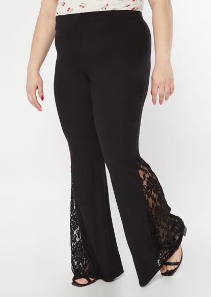 plus black ribbed knit lace flare pants - Main Image