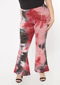 plus burgundy tie dye stretch flare pants - Main Image