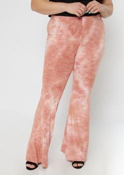 plus pink tie-dye super soft flare pants - Main Image