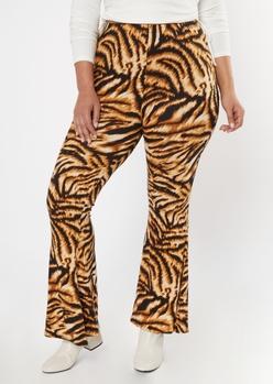 plus tiger print soft flare pants - Main Image