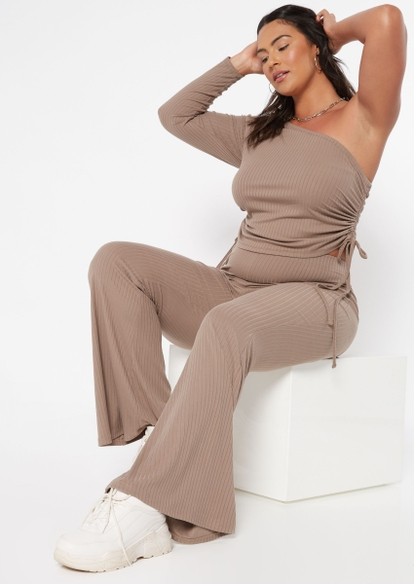 plus taupe ribbed flare pants - Main Image