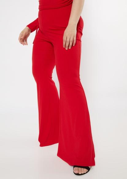 plus red ribbed flare pants - Main Image
