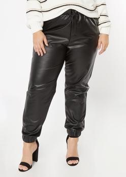 plus black faux leather joggers - Main Image